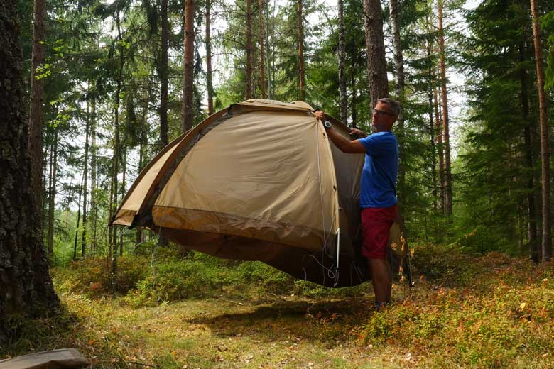 The big benefit of a freestanding dome tent like the Fjällräven Abisko Dome 2: finding a level spot is simple.