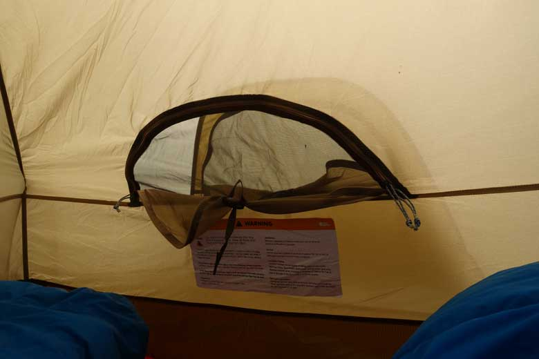 The openings on the sides can be used to scoop snow between the inner and outer tent.
