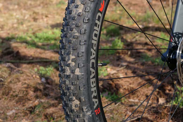 The Bontrager Chupacabra tires with their small profile are generally fine.